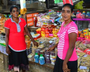 Sisters who helped us choose 'palaharums' at the Jaffna Market